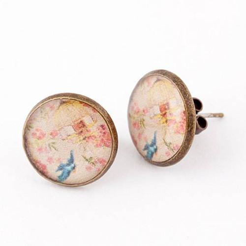 Blue Swallow Resin Stud Earrings