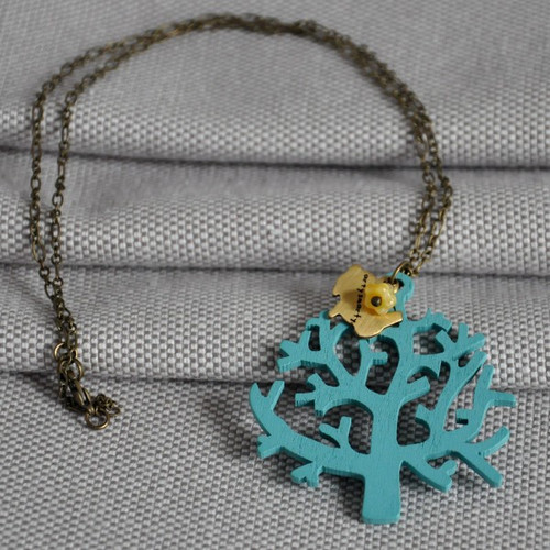 Blue Tree Botanical Wooden Necklace
