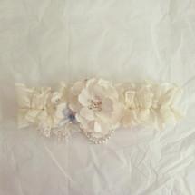 handsewn flower ivory heavy lace bridal wedding garter