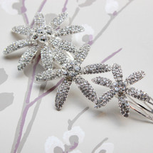 'Dazzling Daisy' Crystal Flowers (Ranging in Size) Bridal Hair Piece