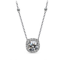 Cushion Cut Diamanté Wedding Pendant Bridal Necklace