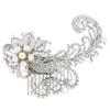 'Annalise' Diamante Crystal Pearl Feather  Bridal Hair Comb
