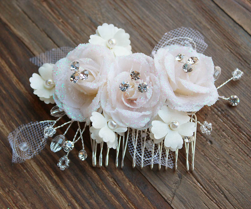 Material flower bridal hair comb sample sale lily luna glitter wilona silk flower hair comb mightylinksfo