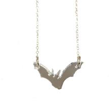 Laser Cut Silver Bat Necklace