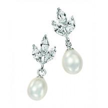 'Mae' Freshwater Pearl Leafy Drop Silver Earrings
