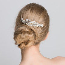 'Audrey' classic ivory freshwater pearl statement hair comb