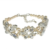 'Alicia' Swarovski Crystal Pearls Crystal Bracelet wedding bridal