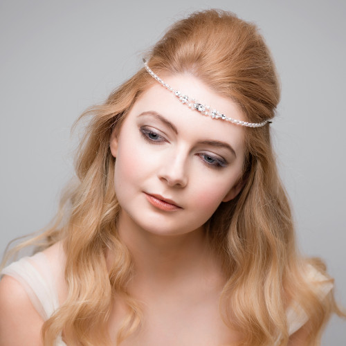 Brie Swarovski Crystal And Pearls Fine Boho Forehead Band
