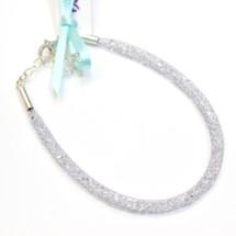 By Niya - Thin Grey and Silver Swarovski Crystal Bracelet