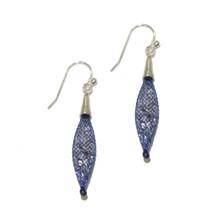 By Niya - Dark Blue and Silver Swarovski Crystal Earrings