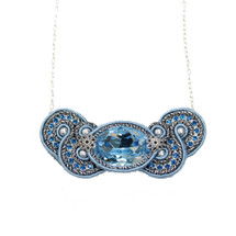 Hand Embroidered Blue and Silver Necklace