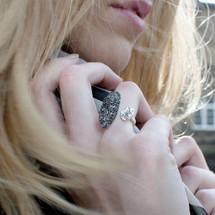 Tina Kotsoni - Black and Silver Hammered Rock Statement Ring