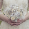 feather ivory art deco flower wedding brooch bouquet