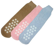 Slipper Socks - Size 9-11 - Pack of 3 Pairs - Brown, Pink and Light Blue