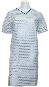 Hospital Gown-basic Iv Gown - White with Blue Prints (4 Pack)