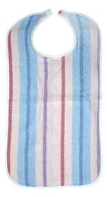 6 Terry Clothing Protector Stripes Print - Adult Bibs