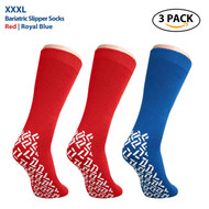 Pack of 3 Pairs - XXXL Non-Skid Bariatric Extra Wide Slipper Socks for People with Diabetes/Edema (2 Pairs of Red 1 Pair of Blue)