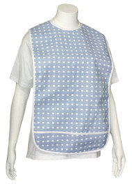 Adult Vinyl Adult Bibs with Crumb Catcher - Premium Bib (Blue with white boxes)