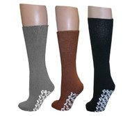Diabetic Slipper Socks (3 Pairs, 3 Colors) ((1) Pair Brown (1) Pair Black (1)...