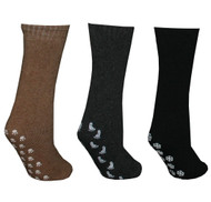 6 Pairs of Non-skid Unisex Slipper Socks (2 Black, 2 Brown, 2 Grey) - Size 9-11