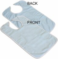 3 Terry Adult Bibs with Vinyl Barrier (Light Blue)
