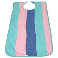 3 Adult Terry Bibs - Pastel Stripes - Vinyl Backing - Size: 17 X 34
