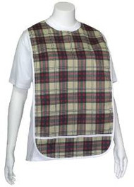 Adult Vinyl Adult Bibs with Crumb Catcher - Premium Bib (Scottish plaid)