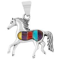 Sterling Silver Horse Pendant Multi Gemstone P3002-C01