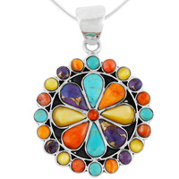 Sterling Silver Flower Pendant Multi Gemstone P3060-C71