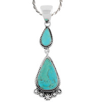 Sterling Silver Dangle Pendant Turquoise P3061-C75