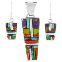 Sterling Silver Pendant & Earrings Set Multi Gemstones PE4012-C51