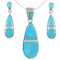 Sterling Silver Pendant & Earrings Set Turquoise PE4014-C05