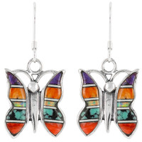 Sterling Silver Butterfly Earrings Multi Gemstones E1089-C01