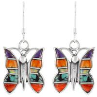 Sterling Silver Butterfly Earrings Multi Gemstones E1089-C01