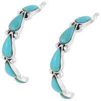 Turquoise Hoop Earrings Sterling Silver E1098-SM-C75