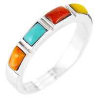 Sterling Silver Stackable Ring Multi Gemstone R2232-C71