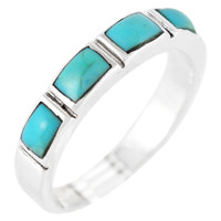 Sterling Silver Stackable Ring Turquoise R2232-C75