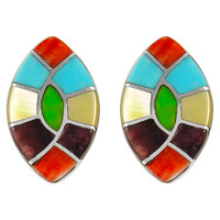 Sterling Silver Earrings Multi Gemstones E1043-C01