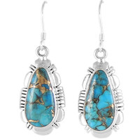 Sterling Silver Earrings Matrix Turquoise E1044-C84