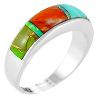 Sterling Silver Ring Multi Gemstone R2244-C01