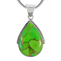 Sterling Silver Pendant Green Turquoise P3075-BAIL-C76