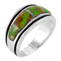 Sterling Silver Ring Green Turquoise R2024-C22