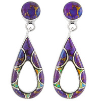 Sterling Silver Earrings Purple Turquoise E1014-C23