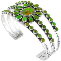 Sterling Silver Bracelet Green Turquoise B5499-C76
