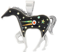 "Horse Jewelry Pendant Sterling Silver 2"" Wide Black & Opal P3049-LG-C27 (LARGER SIZE)"