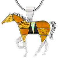 """Horse Jewelry Pendant Sterling Silver 2"""" Wide Multi Gemstone P3049-LG-C34 (LARGER SIZE)"""