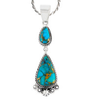Sterling Silver Dangle Pendant Matrix Turquoise P3061-C84