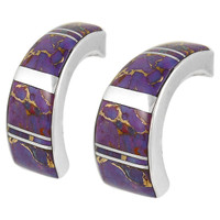 Sterling Silver Earrings Purple Turquoise E1148-C07