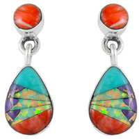 Sterling Silver Earrings Multi Gemstone E1056-C01