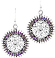 Sterling Silver Flower Earrings Purple Turquoise E1138-C77